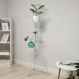 Подставка для цветов «Стелла-9», d=20 см, цвет белое серебро