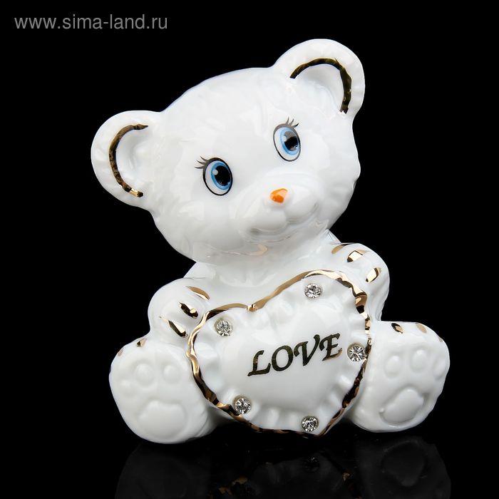 """Сувенир """"Белый мишка с сердечком-подушкой"""" со стразами"""