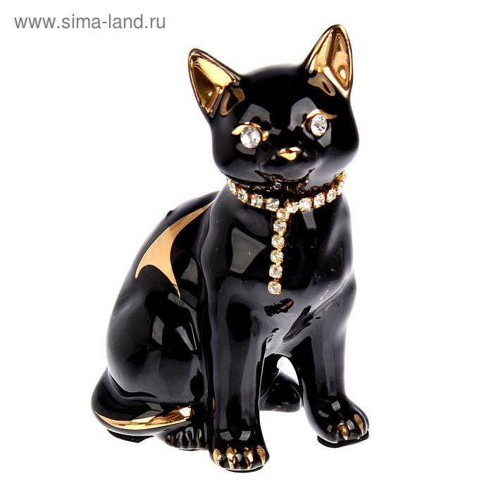 """Сувенир """"Черный кот в ошейнике"""" со стразами"""