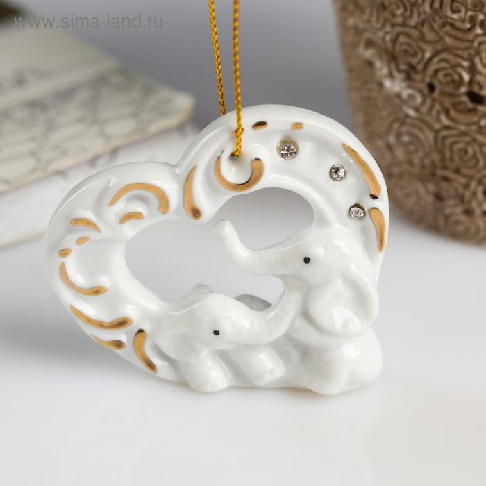 """Сувенир """"Два слоника в сердце"""" со стразами"""