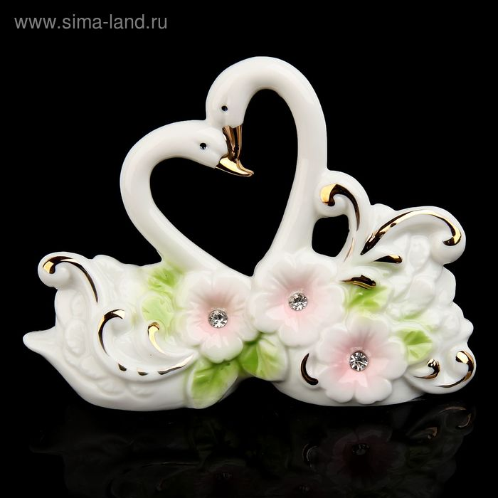 """Сувенир """"Лебеди в цветах"""" цветной, со стразами"""