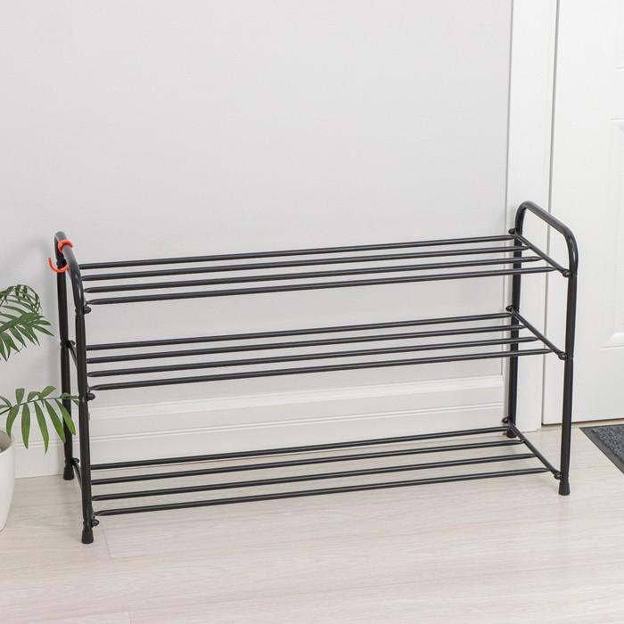 Подставка для обуви, 3 яруса, 87×30×48 см, цвет чёрный - фото 871444