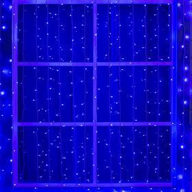"""Гирлянда """"Занавес"""" 2 х 9 м , IP44, УМС, белая нить, 1800 LED, свечение синее, 220 В"""