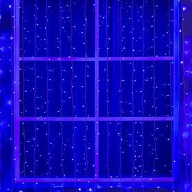 """Гирлянда """"Занавес"""" 2 х 6 м , IP44, УМС, белая нить, 1440 LED, свечение синее, 220 В"""