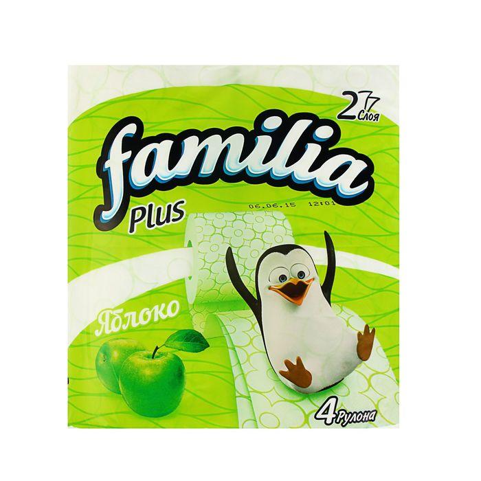 "Туалетная бумага Familia Plus ""Яблоко"", 2 слоя, 4 рулона"