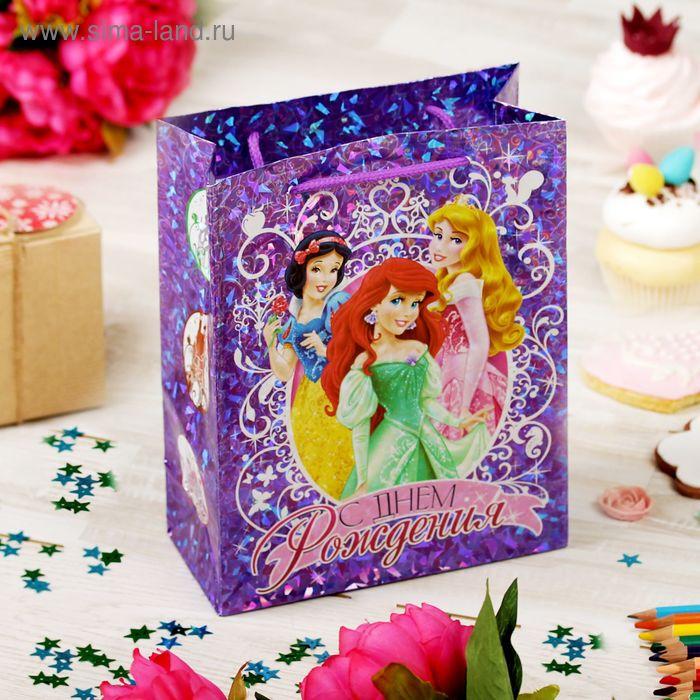 """Пакет голография вертикальный """"С днем рождения!"""", Принцессы, 18 x 23 см"""