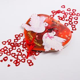 Конфетти «Нежная любовь» сердечки цветные два размера 14 гр