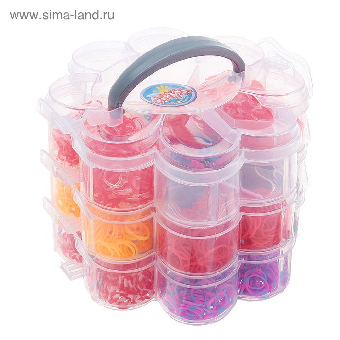 """Резиночки для плетения """"Цветочек"""", 12 видов по 300 шт., пяльцы, 2 крючка, крепления, 3 подвески"""
