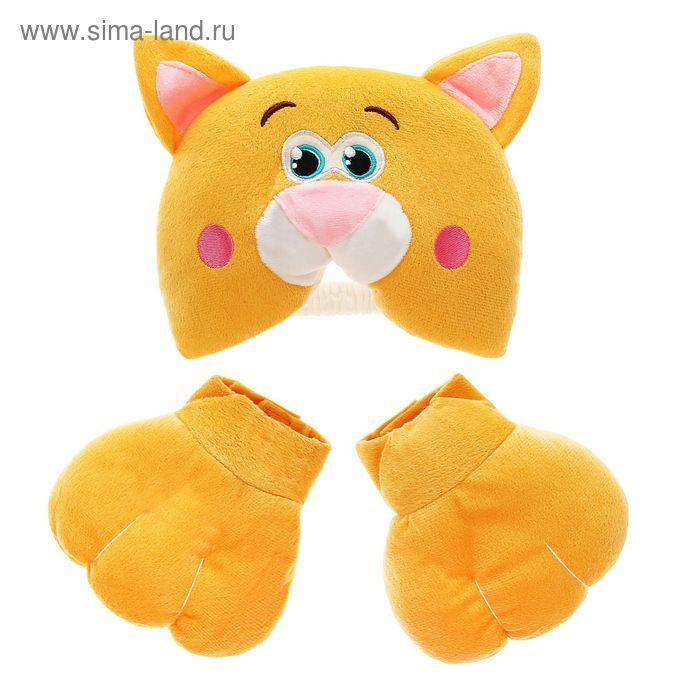 """Карнавальный набор """"Котик"""", 2 предмета: шапка-маска, лапы"""