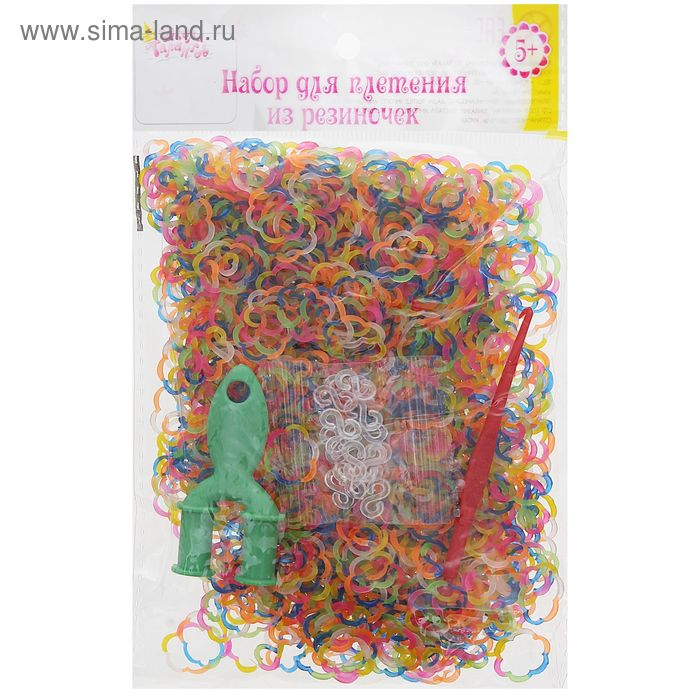 Резиночки для плетения фигурные цветочки, набор 1000 шт., крючок, крепления, пяльцы
