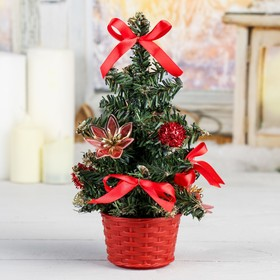 Ёлка декор 20 см красный цветок