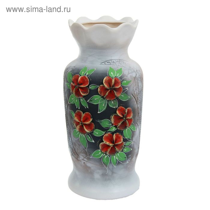 """Ваза напольная """"Люда"""" малая, цветы, лепка"""