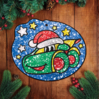 """Новогодняя Новогодняя фреска блёстками """"Тачка"""", набор: блёстки 5 цветов по 2 гр, крепление, стека, клеевые подушечки"""