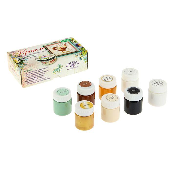 Набор для Кракелюра: краска акрил 6 цветов*40 мл (текстурная) +лак 2 шт. K3453