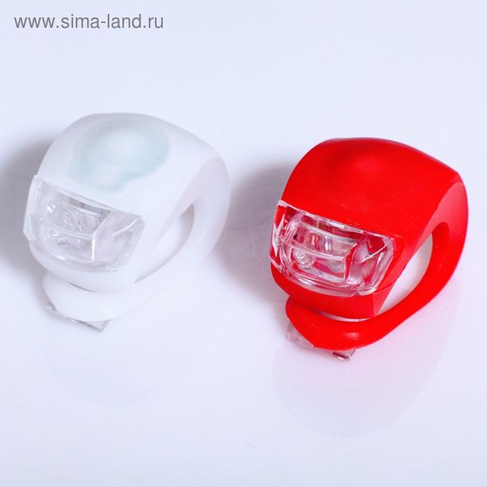 Фонарь велосипедный, набор из 2 шт, 2 LED, 3 режима, микс