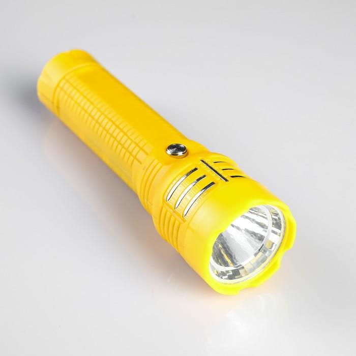 Фонарик 220 В аккумуляторный LY-830, 1 диод, пластик, микс с серебр. полосками, 16х4.3 см