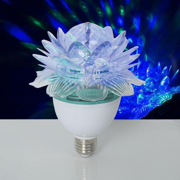 """Лампа-проектор""""Хрустальный Цветок"""", d=12,5 см. эффект зеркального шара Е27, V220 RGB"""