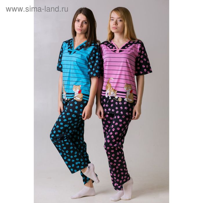 Комплект женский (футболка, брюки) Лапки голубой, р-р 46