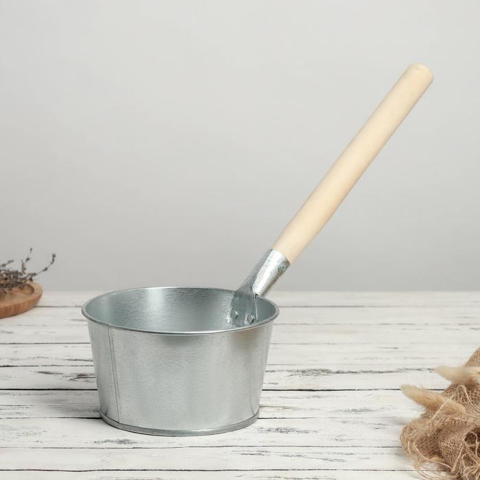 Ковш банный 1,5 л, с деревянной ручкой