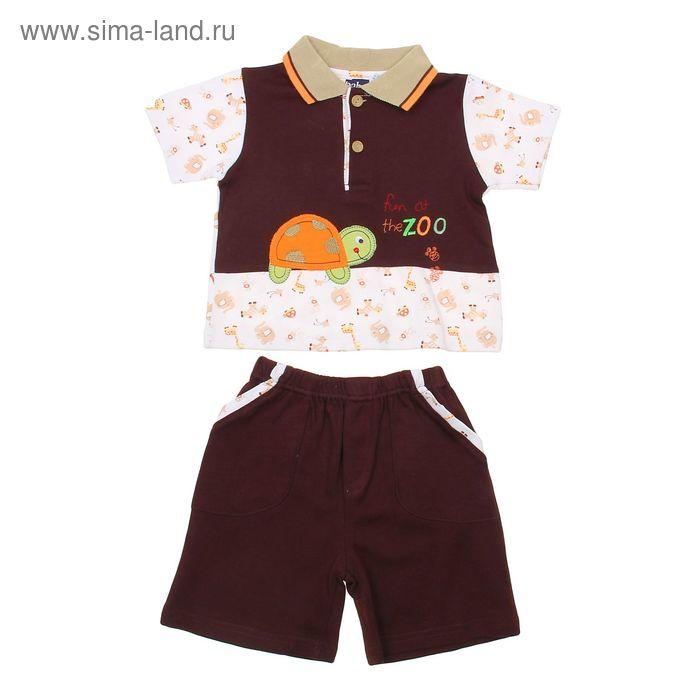 """Комплект для мальчика (футболка+шорты) """"Черепашка"""", рост 80-86 см (1 год), цвет коричневый"""