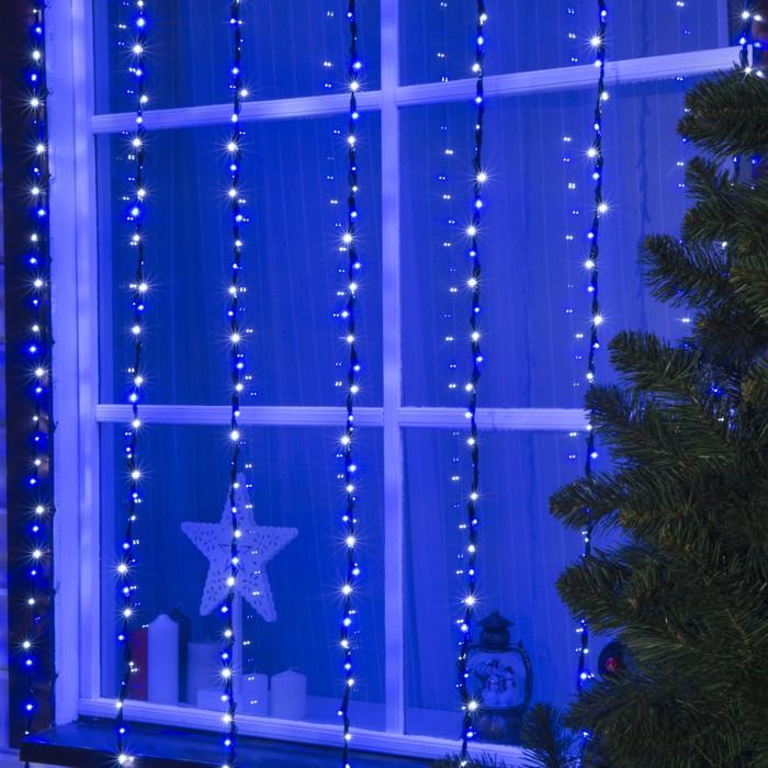 """Гирлянда """"Водопад"""" уличная, УМС, 2 х 3 м, LED-800-220V, 8 режимов, свечение бело-синее"""