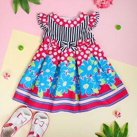 """Платье для девочки """"Голубые цветы"""", рост 74-80 см (1 год), цвет розовый"""