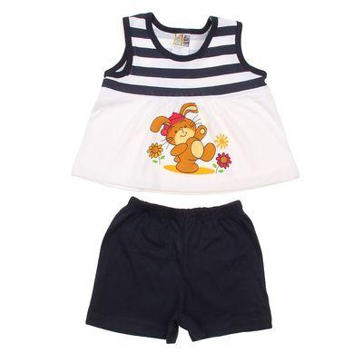 Комплект для девочки (майка+шорты), рост 80-86 см (18 мес.), цвет тёмно-синий G439