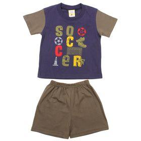 Костюм для мальчика (футболка +шорты), рост 110-116 см (5-6 лет), цвет тёмно-синий B173
