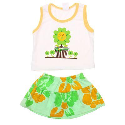 Комплект для девочки (майка+юбка), рост 74-80 см (12 мес.), цвет зелёный G440