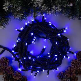 """Гирлянда """"Нить"""" 10 м , IP65, УМС, тёмная нить каучук, 100 LED, свечение синее, 220 В"""