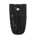 Ключница на кнопке, металлическое кольцо, чёрный крокодил