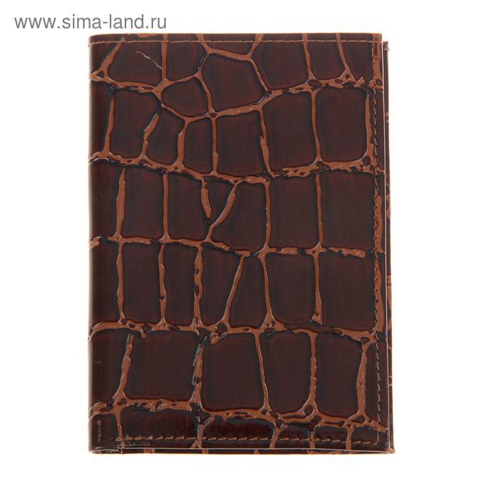 Обложка для автодокументов, отдел для купюр, 4 отдела для карт, коричневый крокодил