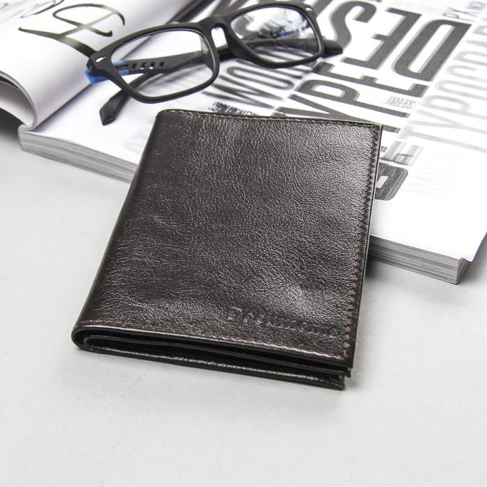 Обложка для автодокументов и паспорта, коричневый матовый