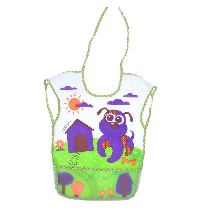 Нагрудник с карманом «В мире животных», из клеёнки, на завязках