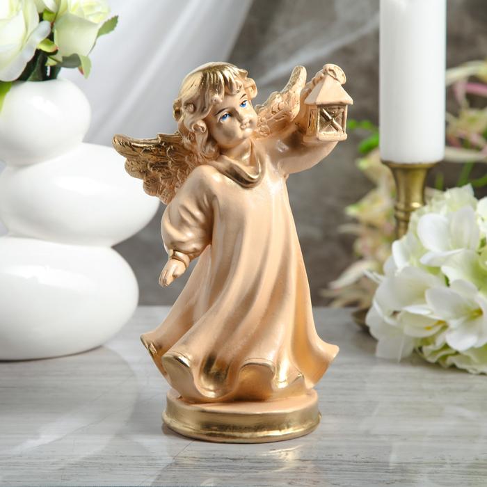 """Статуэтка """"Ангел с фонарём"""" малая, бежевая - фото 376650937"""