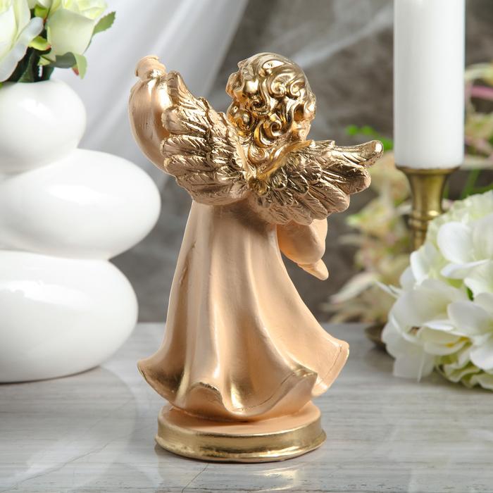 """Статуэтка """"Ангел с фонарём"""" малая, бежевая - фото 376650939"""