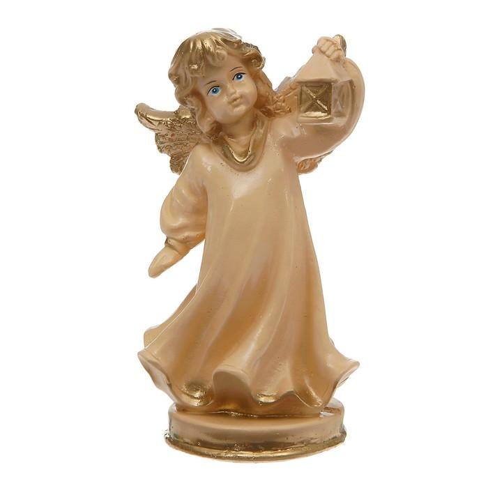 """Статуэтка """"Ангел с фонарём"""" малая, бежевая - фото 376650940"""