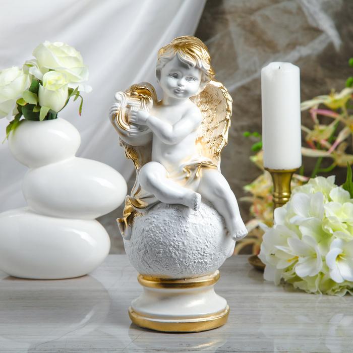 """Статуэтка """"Ангел с арфой на шаре"""" белая, 34 см"""