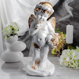 """Статуэтка """"Ангел с корзиной"""", белая, 47 см"""