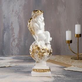 """Статуэтка """"Ангел на шаре"""" с узором, 35 см, бело-золотая"""