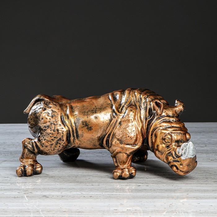 """Статуэтка """"Носорог"""", бронзовый цвет, 15 см"""