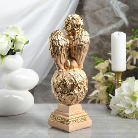 "Статуэтка ""Ангел на шаре"" с узором, 35 см, бежевая - фото 1700117"