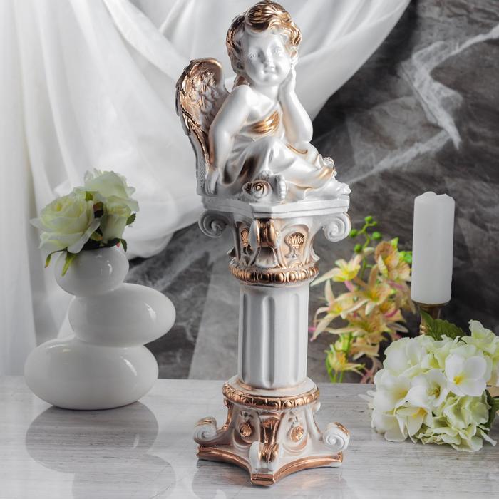 "Статуэтка ""Ангел на колонне"" белая, 53 см"