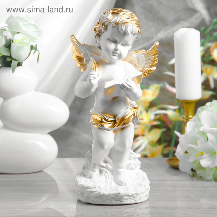 """Статуэтка """"Ангел с книгой"""" белый"""