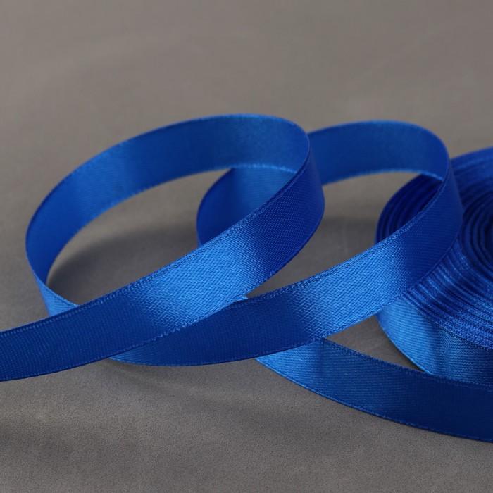 Лента атласная, 12 мм × 33 ± 2 м, цвет синий №040