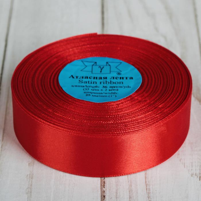 Лента атласная, 25 мм, 33±2м, №026, цвет красный