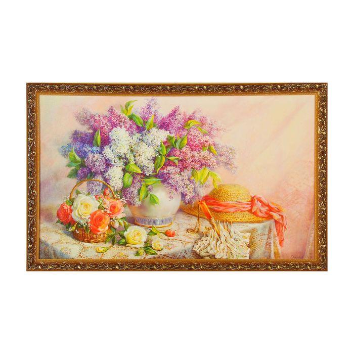 "Картина ""Цветы на столе"", рама микс"