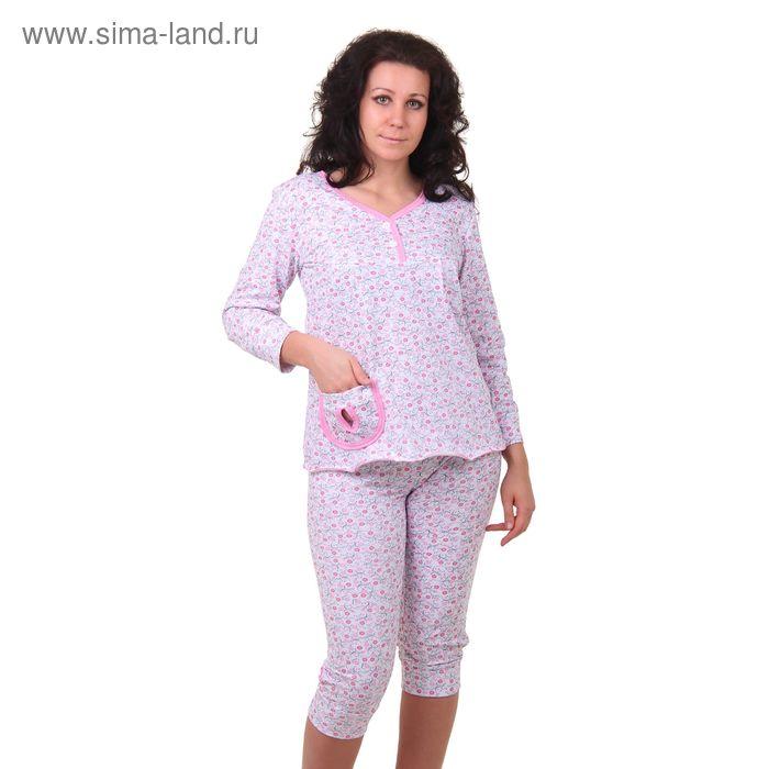 Пижама женская (кофта, бриджи) 99 МИКС, р-р 52