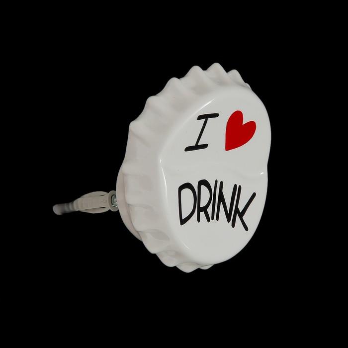 Вешалка-пробка белая I love drink - фото 308330045
