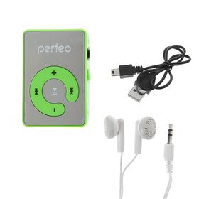 Цифровой MP3-аудиоплеер Perfeo Music Clip Color, зелёный Ош